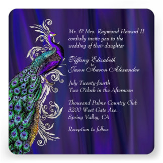 Purple Satin with Peacock Wedding Products
