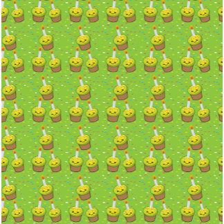 Cute green cupcakes with candles repeating pattern