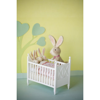 """Felt Bunny Mom and Babies Photo Poster Print"""