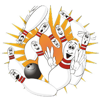 Bowling Pins Strike Cartoon