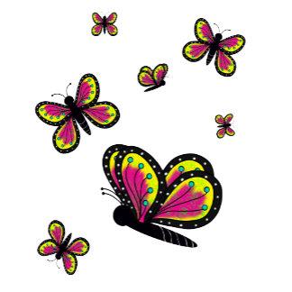 Butterflies Pink Yellow and Black Cartoon Art