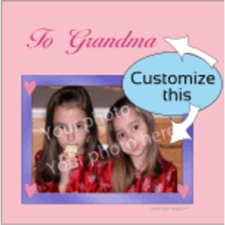 Pink Hearts Purple Frame Customizable Photo/Messag