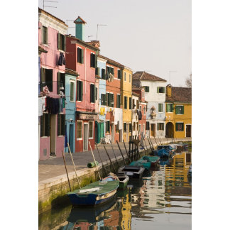 Italy, Burano. Colorful houses of line a