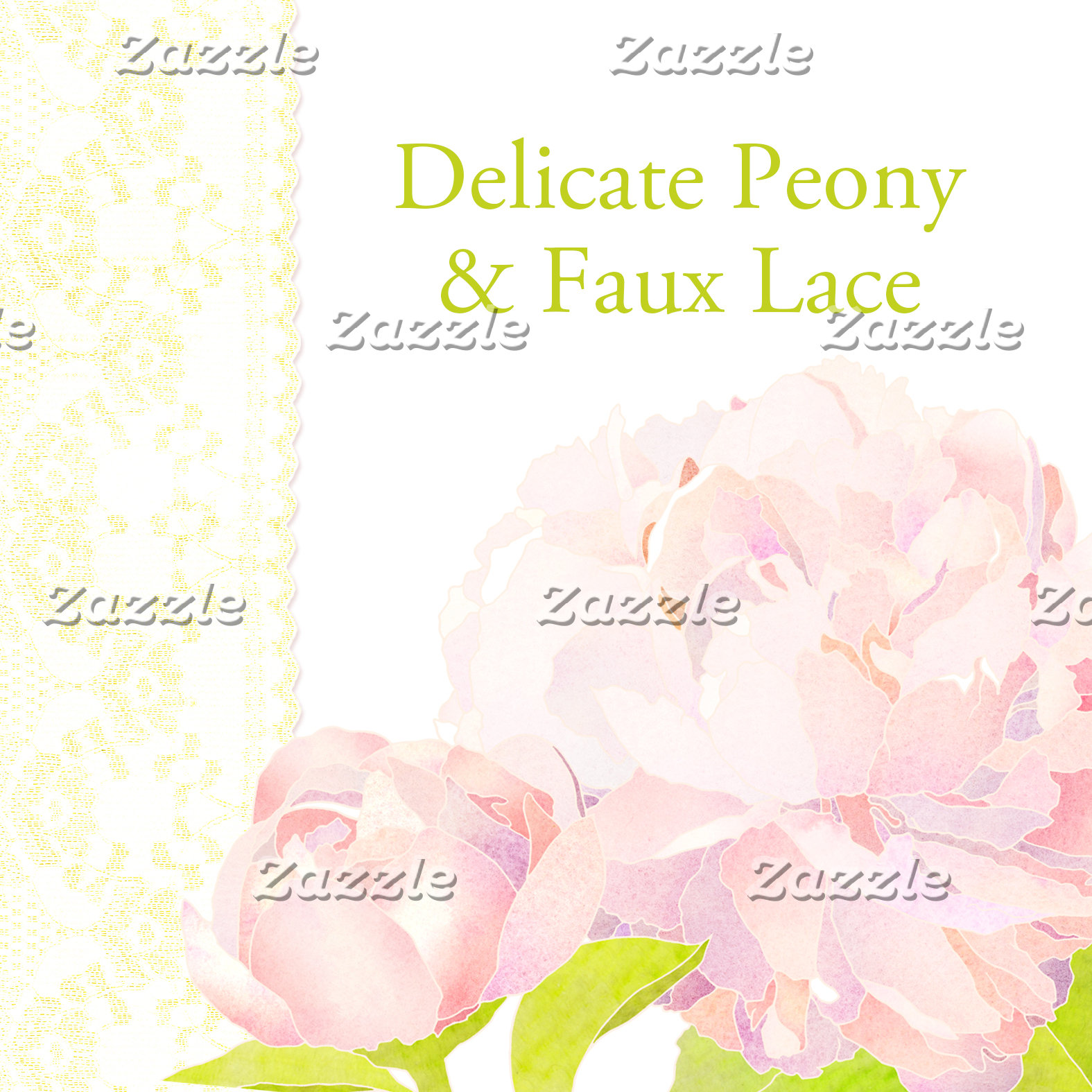 ♥ Delicate Peony & Faux Lace