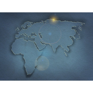 A simple blue map showing three continents -
