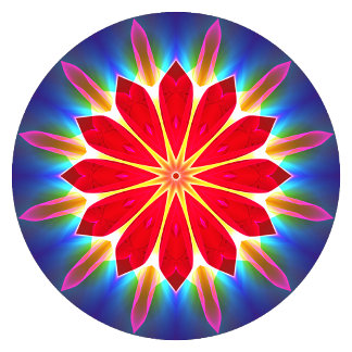 Blue Ice Flowers Red Modern Abstract Mandala