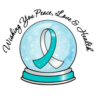 Cervical Cancer Ribbon Merry Christmas Snowglobe