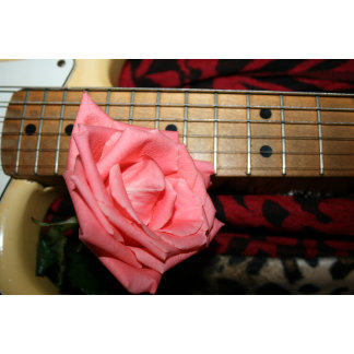 pink rose electric guitar fretboard neck music