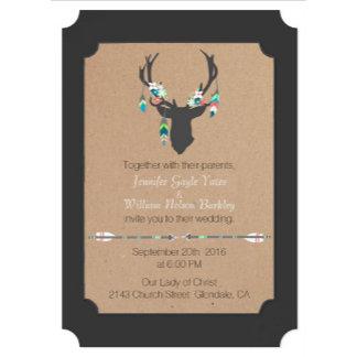 Gray Tribal Deer Wedding Set