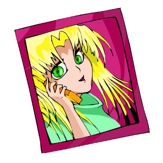 Sakaye is on the phone as always - light blue hair