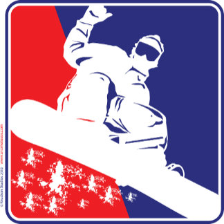 Snow Boarder Red White and Blue