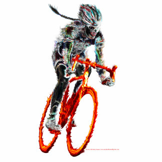Not Frilly.  Female Cyclist & Flames