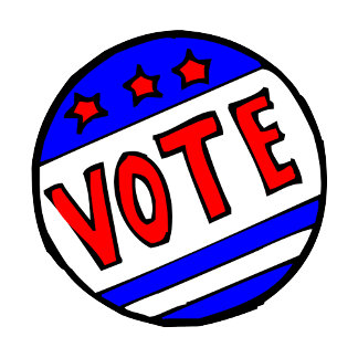 VOTE circle seal with stars and stripes red blue