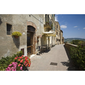 Italy, Tuscany, Pienza. Outer walkway around