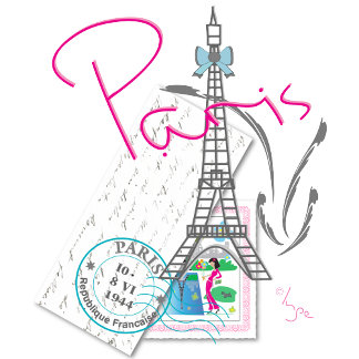 """Paris with love"" Eiffel Tower and Letter"