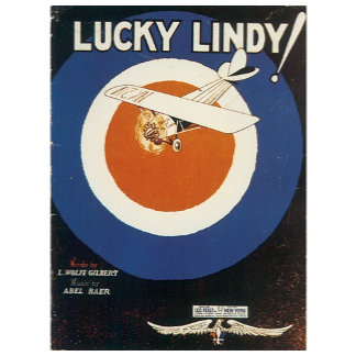 Lucky Lindy - Vintage Song Sheet Music Art
