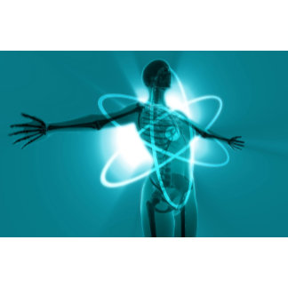Female figure with an overlay of an atomic symbol