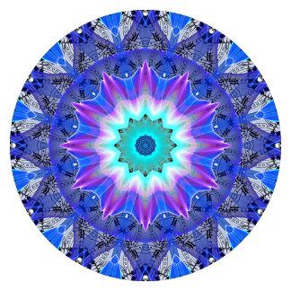 Blue Ice Mandala Aqua Violet Flowers Foliage