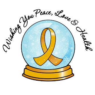 Appendix Cancer Ribbon Merry Christmas Snowglobe