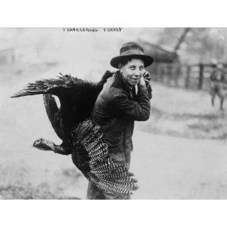 Boy with Thanksgiving Turkey over Shoulder