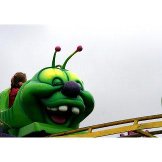 Goofy Green caterpillar roller coaster ride pic