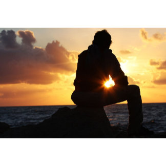 Romantic Man at Sunset