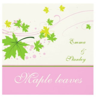 Maple leaves pink green