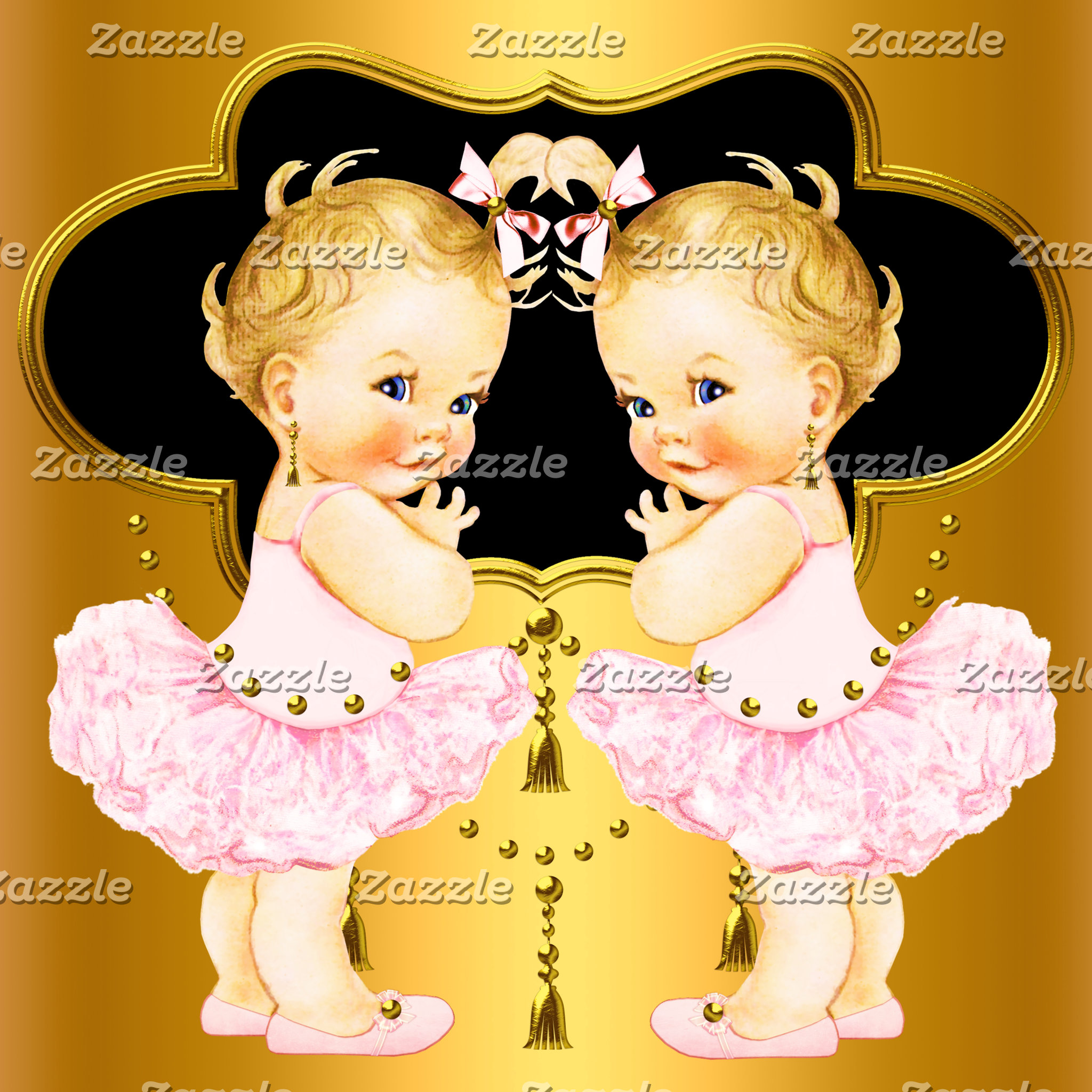 TWIN GIRLS Baby Shower Invitations