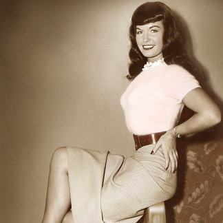 Bettie Page Vintage Pinup in Cute Pink Sweater