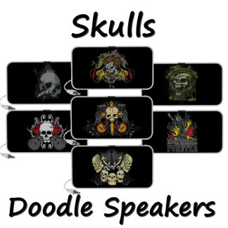 Skull and Guitars Doodle Speakers