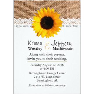 Rustic Burlap and Sunflower Wedding Set