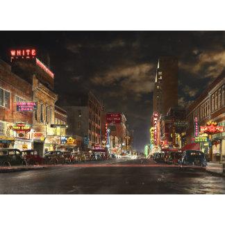 City - Dallas TX - Elm street at night 1941