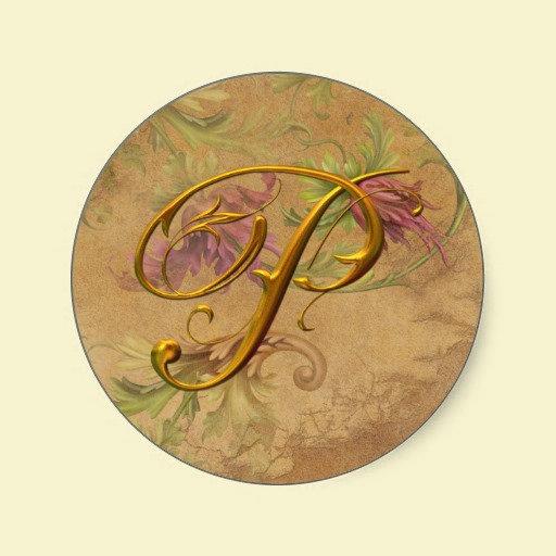 Seals/Stickers: Vintage Floral Gold Monogram