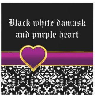 Black white damsk, purple heart