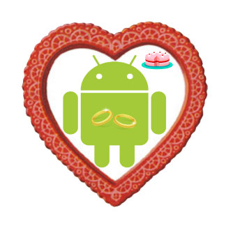 Bug Droid Two Gold Rings Pink Cake Red Heart