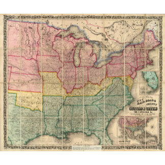 Colton's Railroadand County Map, United States