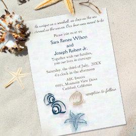Seashells Beach Wedding Invitations