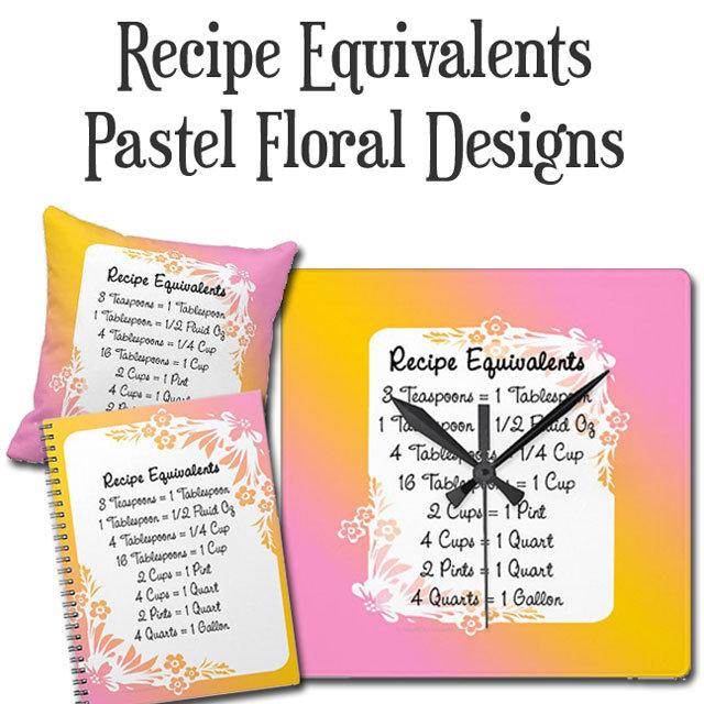Recipe Measurement Equivalents Pastel Floral