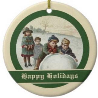 Vintage Children playing in winter