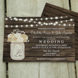 Mason Jar Daisy Barn Wood Wedding Invitations