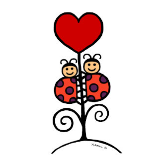 Cute Ladybug Duo Drawing and Heart Flower