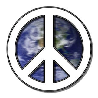 Earth White Peace Sign -