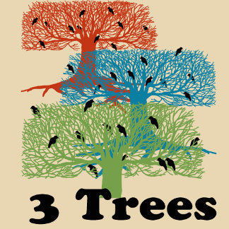 3 Trees and Black Birds