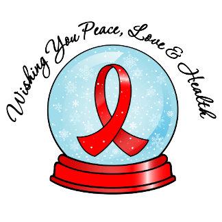 Heart Disease Ribbon Merry Christmas Snowglobe