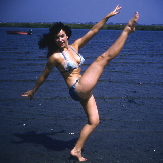Bettie Page Kicking Her Legs Up High Vintage Pinup