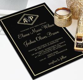 Monogram Geometric Wedding Invites