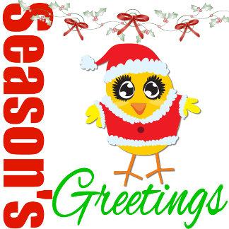 Seasons Greetings Santa Chick