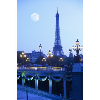 Eiffel tower at dusk with moonrise