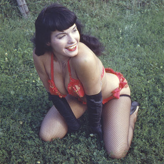 Bettie Page Vintage Pinup in Fishnet Stockings