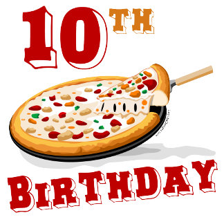 10th Birthday Pizza Party T-shirts, Gifts, Favors